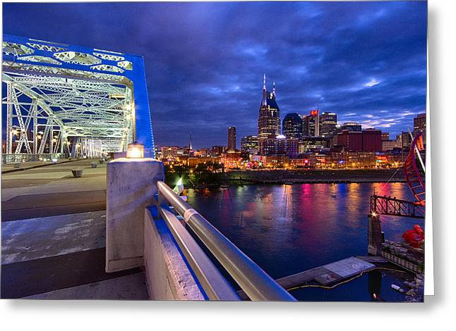Live Music Greeting Cards - Nashville Skyline Greeting Card by Mike Burgquist