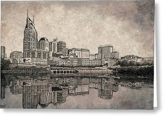 Janet King Paintings Greeting Cards - Nashville Skyline Mixed Media painting  Greeting Card by Janet King