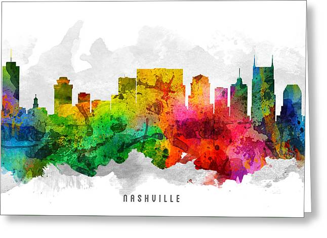 Nashville Tennessee Digital Greeting Cards - Nashville Tennessee Cityscape 12 Greeting Card by Aged Pixel
