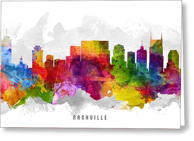 Nashville Tennessee Cityscape 13 Greeting Card by Aged Pixel
