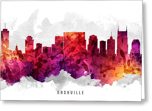 Nashville Tennessee Cityscape 14 Greeting Card by Aged Pixel