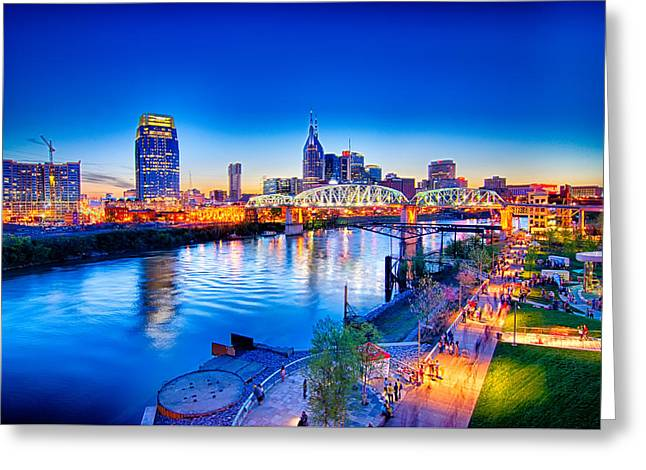 Tennessee Landmark Greeting Cards - Nashville Tennessee downtown skyline at Shelby Street Bridge Greeting Card by Alexandr Grichenko