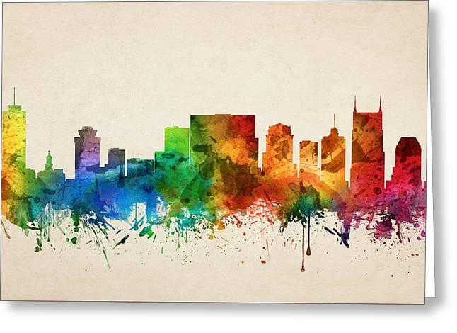 Nashville Tennessee Digital Greeting Cards - Nashville Tennessee Skyline 05 Greeting Card by Aged Pixel