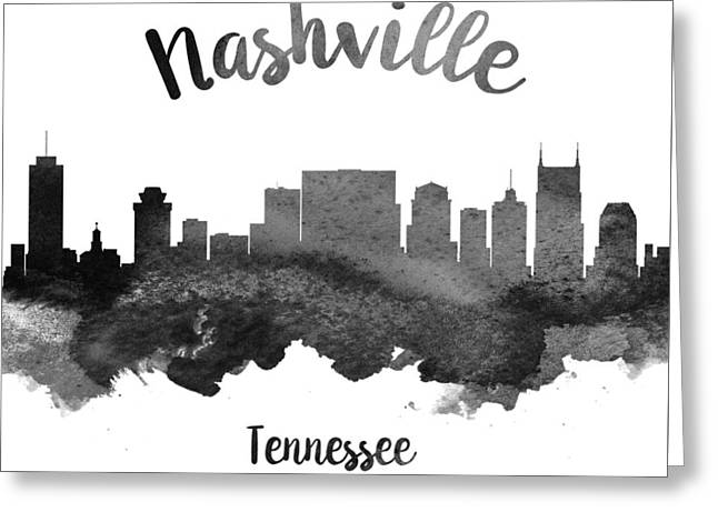 Nashville Tennessee Digital Greeting Cards - Nashville Tennessee Skyline 18 Greeting Card by Aged Pixel