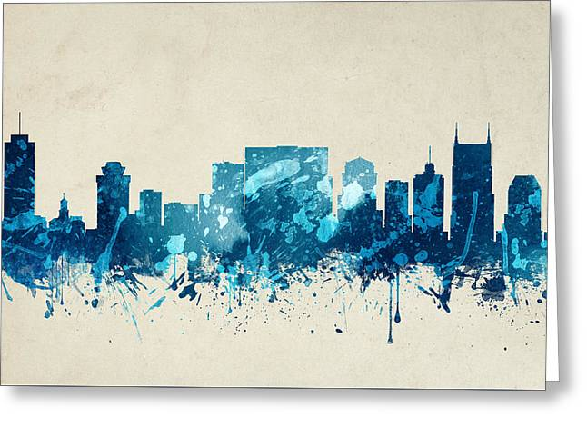 Nashville Tennessee Skyline 20 Greeting Card by Aged Pixel