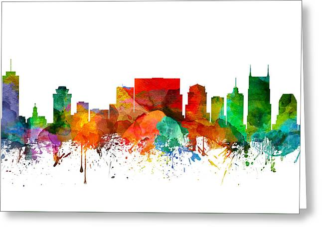 Nashville Tennessee Digital Greeting Cards - Nashville Tennessee Skyline 21 Greeting Card by Aged Pixel