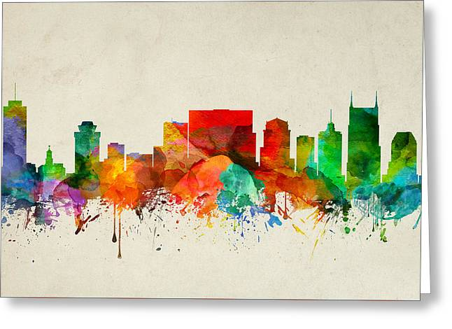 Nashville Tennessee Skyline 22 Greeting Card by Aged Pixel