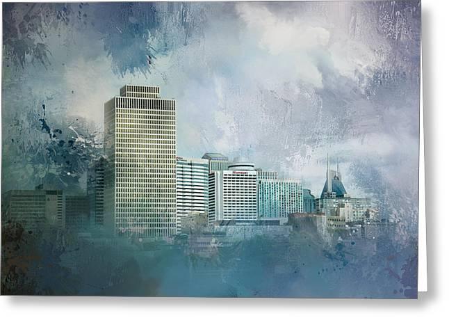 Nashville Tennessee Skyline Greeting Card by Jai Johnson