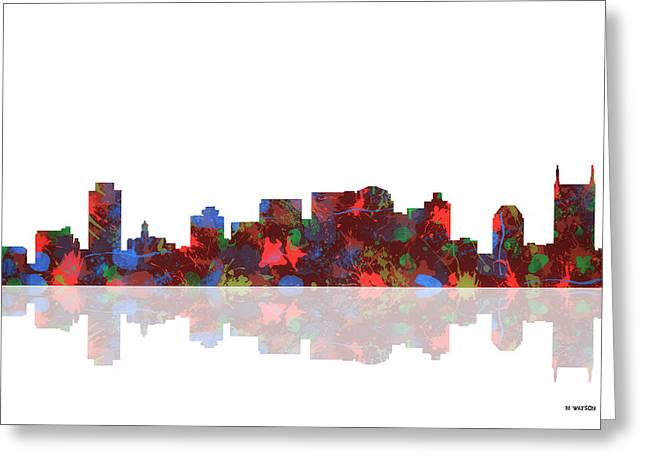 Nashville Greeting Cards - Nashville Tennessee Skyline Greeting Card by Marlene Watson