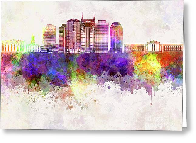 Nashville V2 Skyline In Watercolor Background Greeting Card by Pablo Romero