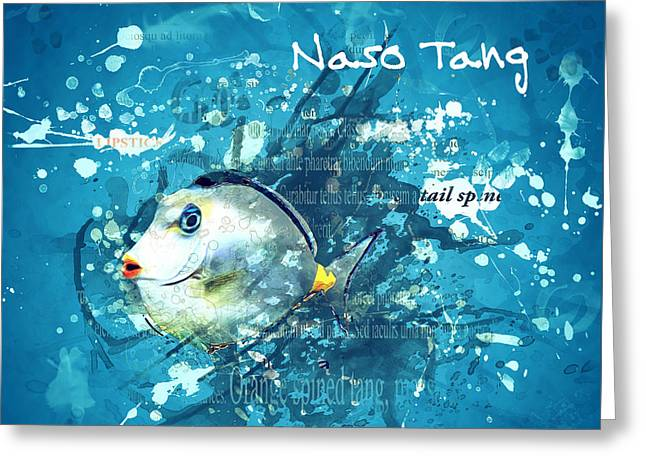 Aquarium Fish Mixed Media Greeting Cards - Naso Tang Fish Greeting Card by Methune Hively