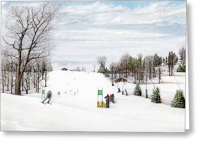 Ski Painting Greeting Cards - NASTAR at Seven Springs Mountain Resort Greeting Card by Albert Puskaric