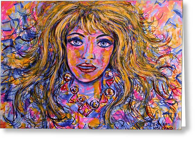 Flowing Blonde Hair Greeting Cards - Natalia Greeting Card by Leonard Holland