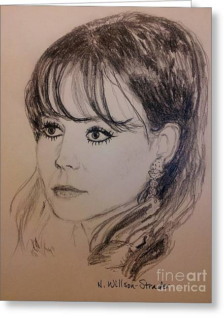 Starlet Drawings Greeting Cards - Natalie, Black and White Greeting Card by N Willson-Strader