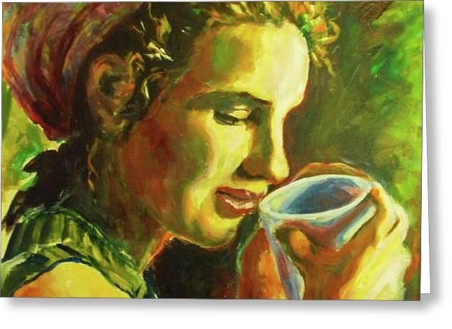 Best Sellers -  - Coffee Drinking Greeting Cards - Natalie In Africa Greeting Card by Margaret  Plumb
