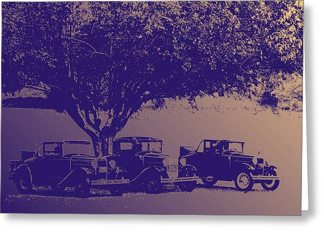 Transportation Reliefs Greeting Cards - Nates Old cars 1 Embossed Greeting Card by Tim Tompkins
