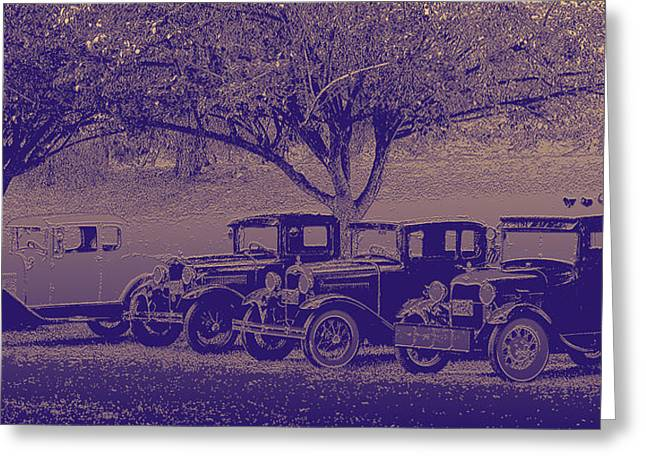 Transportation Reliefs Greeting Cards - Nates Old Cars 2 embossed Greeting Card by Tim Tompkins