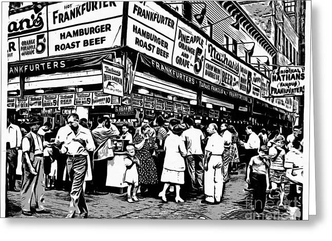 Nathans Famous Frankfurter Coney Island Ny Greeting Card by Edward Fielding