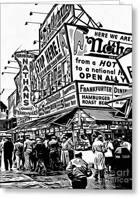 Nathans Famous Frankfurter Stand Coney Island 2 Greeting Card by Edward Fielding
