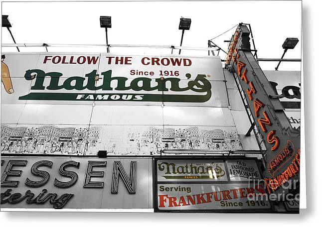 Nathans Greeting Cards - Nathans Famous Fusion Greeting Card by John Rizzuto