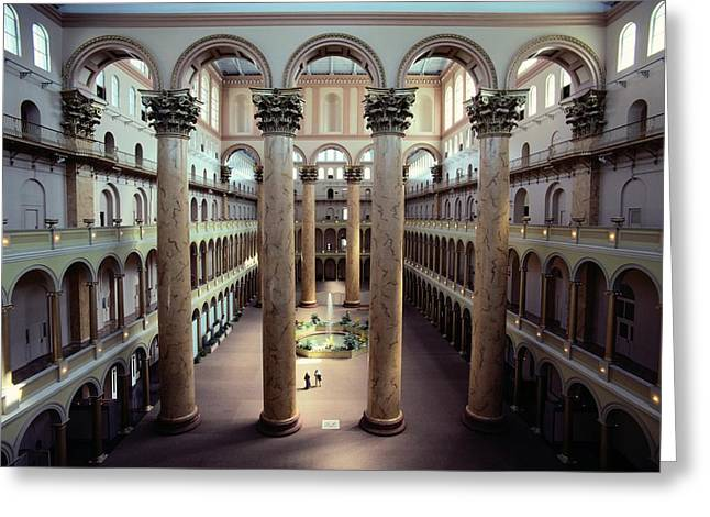 Art Of Building Greeting Cards - National Building Museum Interior Greeting Card by Sisse Brimberg