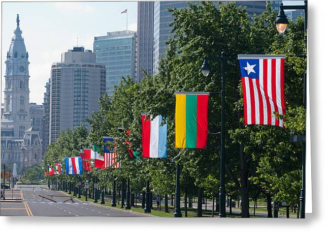 Franklin Greeting Cards - National Flags Of Various Countries Greeting Card by Panoramic Images