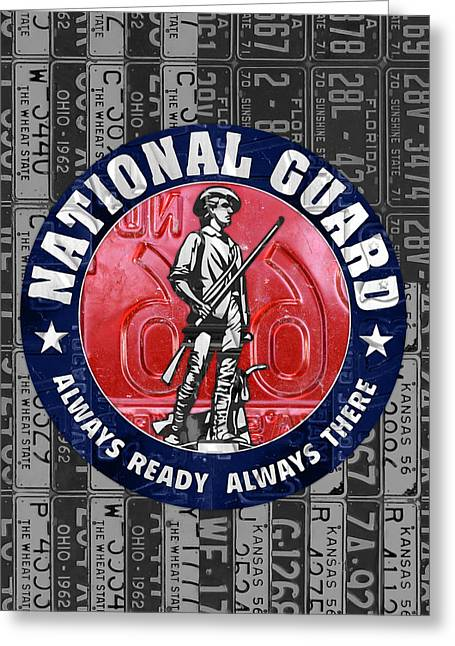 National Guard United States Logo Recycled Vintage License Plate Art Greeting Card by Design Turnpike