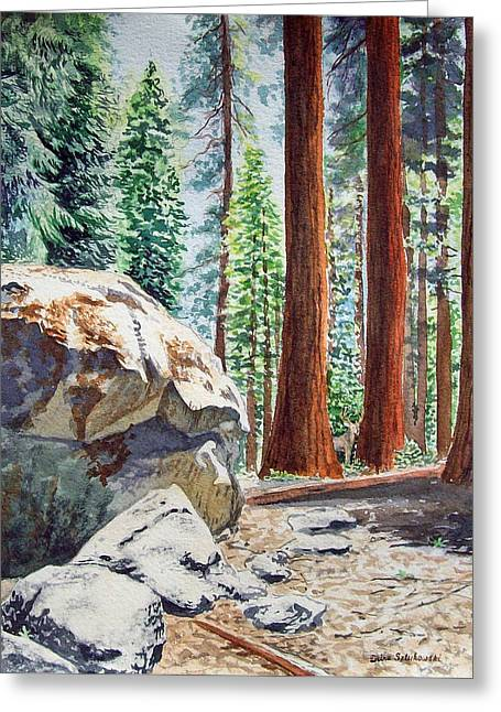 Trees Forest Paintings Greeting Cards - National Park Sequoia Greeting Card by Irina Sztukowski