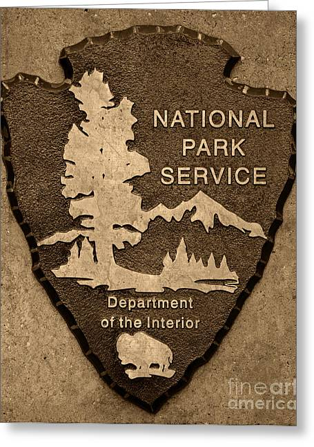 National Park Service Greeting Cards - National Park Service Logo Greeting Card by John Stephens