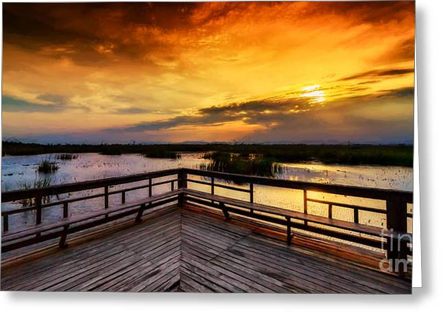 National Park Sunset Greeting Card by Adrian Evans