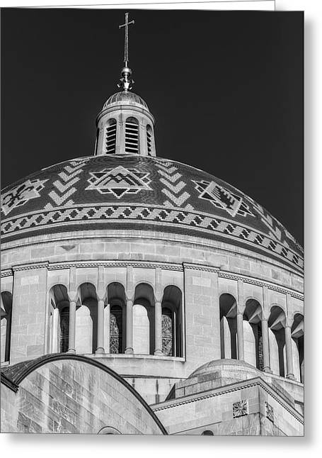 Byzantine Greeting Cards - National Shrine Dome BW Greeting Card by Susan Candelario