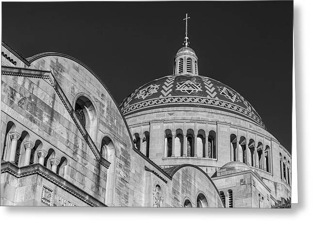 Byzantine Greeting Cards - National Shrine Dome I BW Greeting Card by Susan Candelario