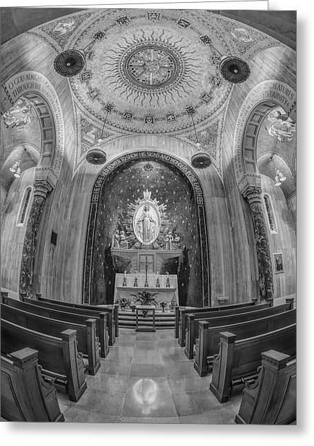 Byzantine Greeting Cards - National Shrine of the Immaculate Conception Chapel BW Greeting Card by Susan Candelario