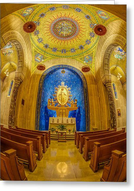 Byzantine Greeting Cards - National Shrine of the Immaculate Conception Chapel Greeting Card by Susan Candelario