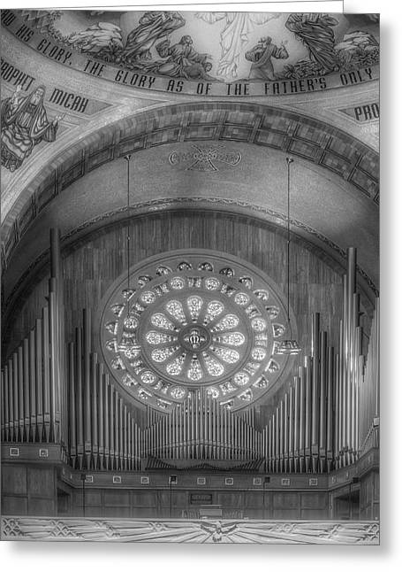 Byzantine Greeting Cards - National Shrine Rose Window and Organ BW Greeting Card by Susan Candelario