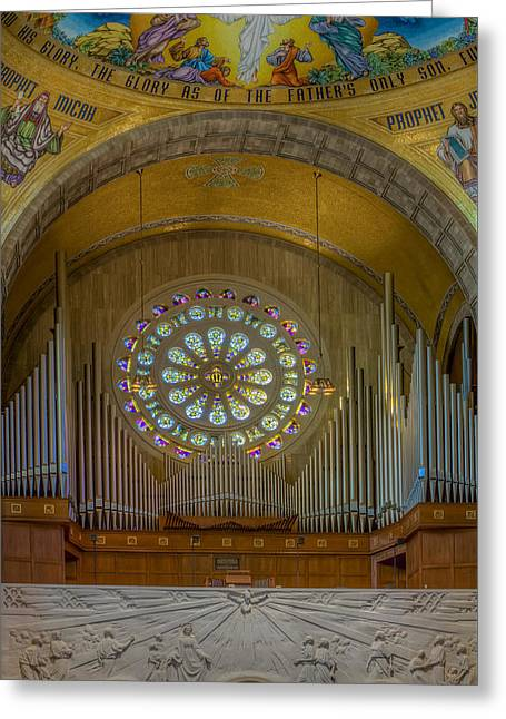 Byzantine Greeting Cards - National Shrine Rose Window and Organ Greeting Card by Susan Candelario