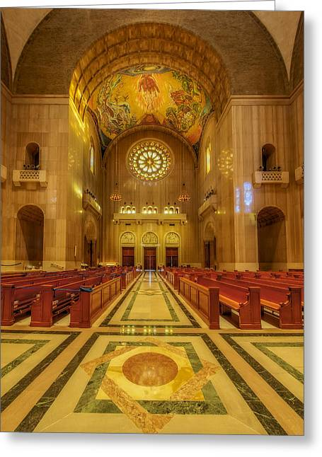 Byzantine Greeting Cards - National Shrine Rose Window Greeting Card by Susan Candelario