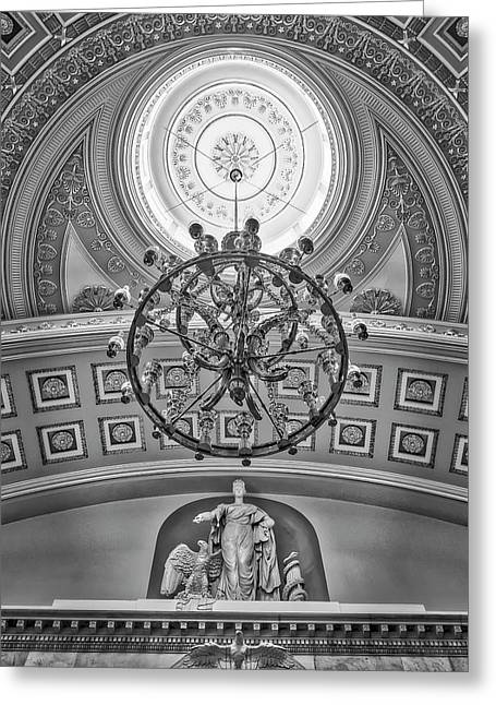 National Statuary Hall Washington Dc Bw Greeting Card by Susan Candelario