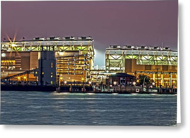Glow Photographs Greeting Cards - Nationals Park - Baseball Stadium - Washington DC Greeting Card by Brendan Reals