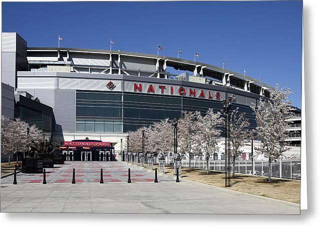 Washington Dc Baseball Greeting Cards - Nationals Park in Washington D.C. Greeting Card by Brendan Reals