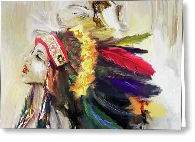 Native American 274 1 Greeting Card by Mawra Tahreem