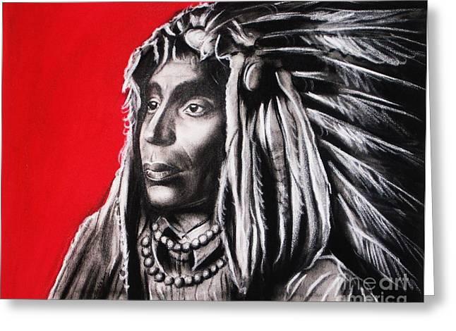 People Pastels Greeting Cards - Native American Greeting Card by Anastasis  Anastasi