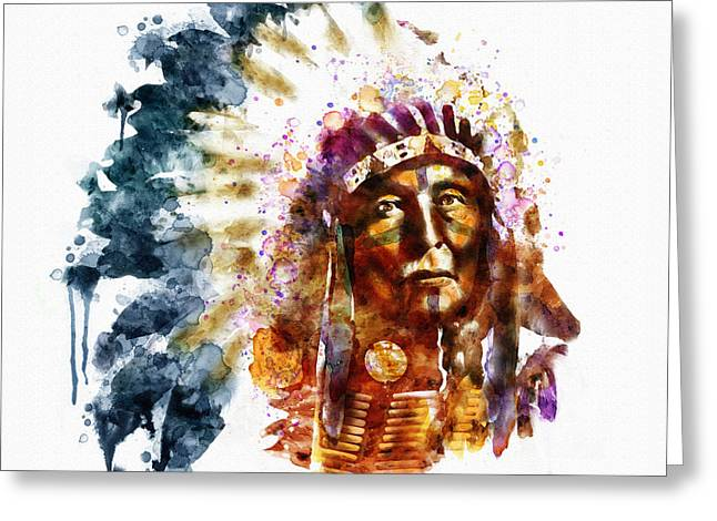 Sized Mixed Media Greeting Cards - Native American Chief Greeting Card by Marian Voicu