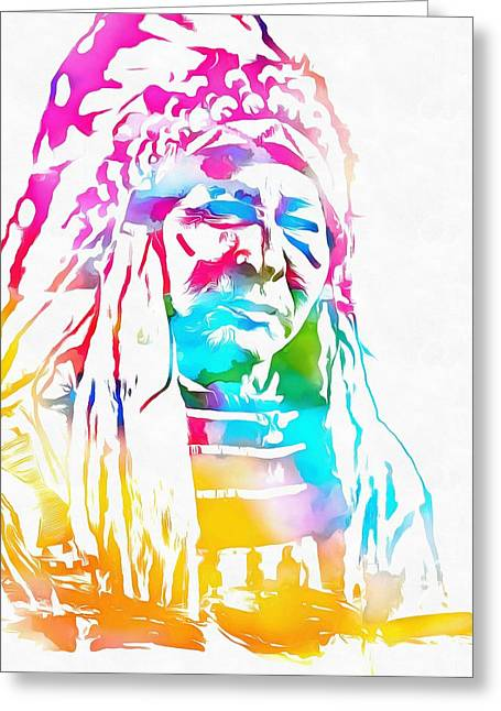 Colorful Indian Chief Greeting Cards - Native American Chief Watercolor Headdress Greeting Card by Dan Sproul
