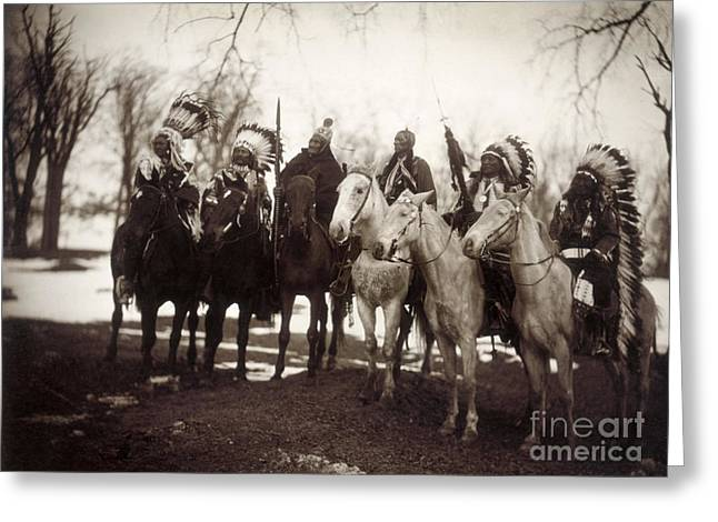Plumed Greeting Cards - Native American Chiefs Greeting Card by Granger
