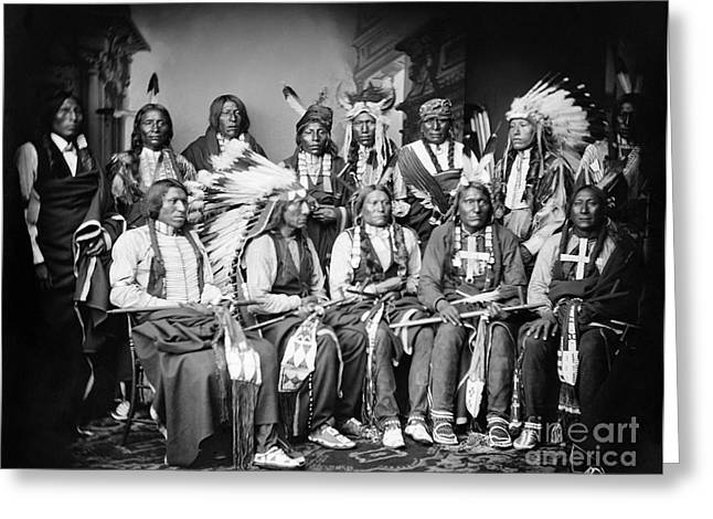 Oglala Greeting Cards - Native American Delegation, 1877 Greeting Card by Granger