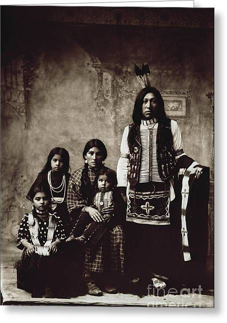 Breastplate Greeting Cards - Native American Family Greeting Card by Granger