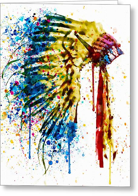 Dripping Paint Greeting Cards - Native American Feather Headdress   Greeting Card by Marian Voicu