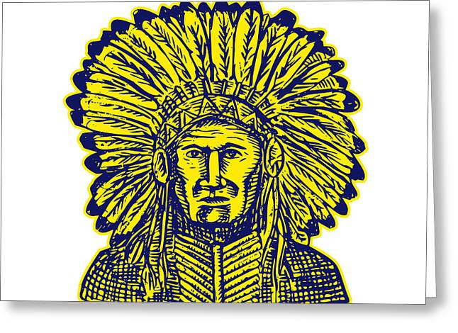 Etching Digital Greeting Cards - Native American Indian Chief Warrior Etching Greeting Card by Aloysius Patrimonio