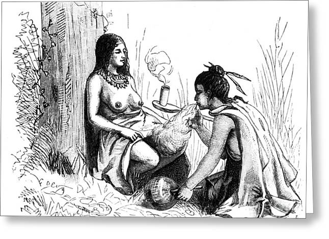 Science Collection - Greeting Cards - Native American Indian Midwifery, 1877 Greeting Card by Science Source